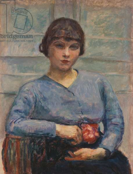 Young Girl in Blue with a Rose, c.1916 (oil on canvas)