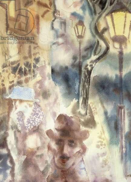 Berlin Street Scene; Berliner Strassenszene, c. 1929-1930 (watercolor on paper)