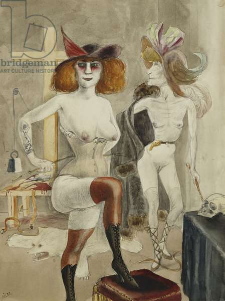 Dedicated Sadists; Sadisten Gewidmet, 1922 (watercolour, pencil, pen and black ink on paper)