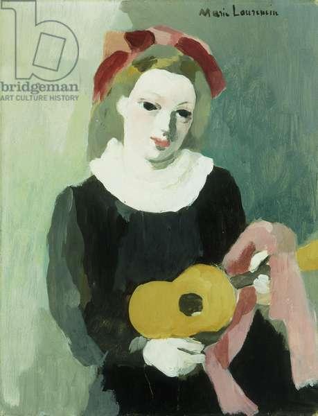 Jeune Fille a la Mandoline, (oil on canvas)