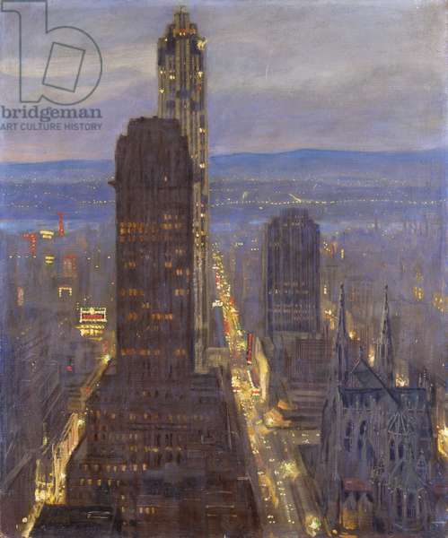 The Enchanted City, New York, (oil on canvas)