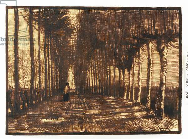 Figure on a Road, 1884 (pen and brown ink on buff paper)