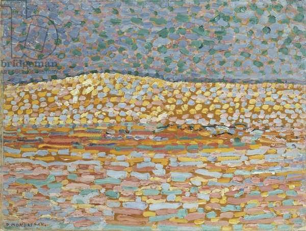 Pointillist Dune Study, Crest at Left, 1909 (oil with traces of graphite on paper.)