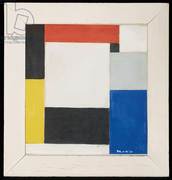 Composition, 1924 (gouache and paper collage over pencil on paper , frame)