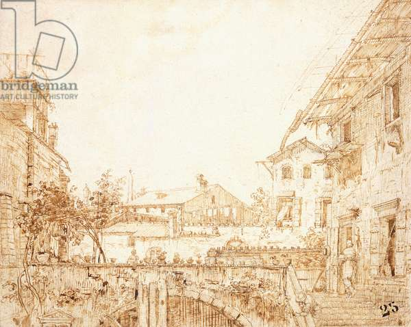 A View of a Terrace in Padua,  (black chalk, pen and brown ink)