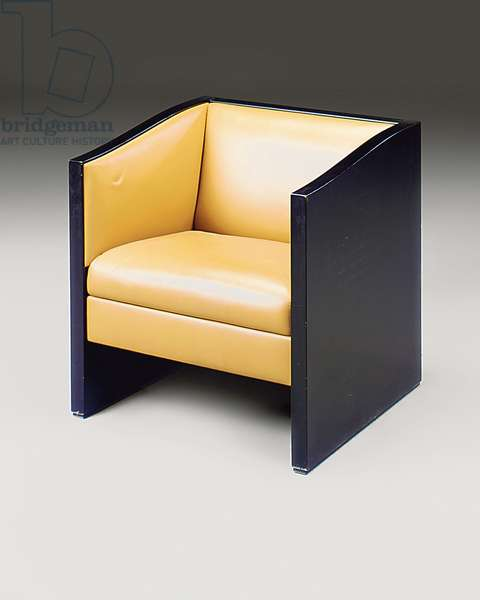 One of a pair of armchairs, late 20th century (tan leather & ebonised oak)