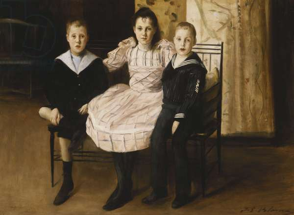 Henry Bernstein and his Brother and Sister, 1892 (oil on canvas)