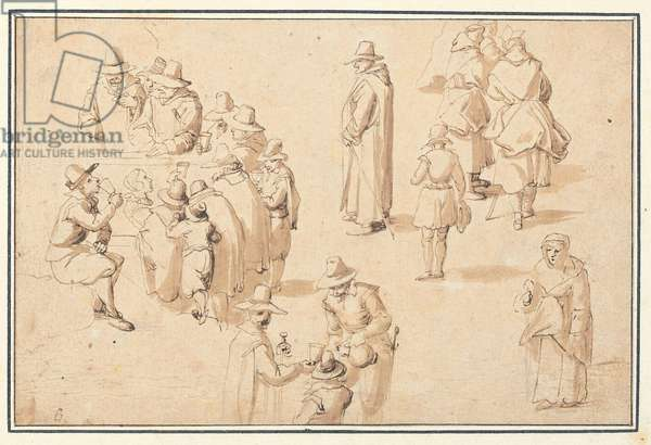 A fountain at Spa with studies of elegant figures taking the waters and of two monks and a priest (black chalk, pen & brown ink, with brown & grey wash on paper)