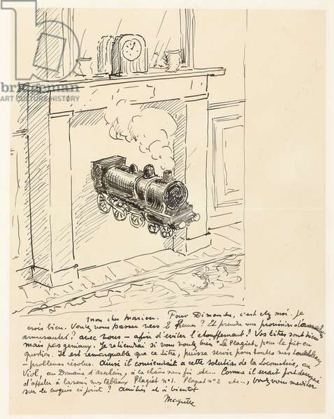 Letter by Magritte including a sketch for 'Time Transfixed' (La duree poignardee), c.1938 (pen and ink on paper)
