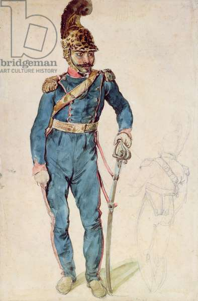 Mustapha, Gericault's servant, in the uniform of Colonel Bro (pencil & w/c)