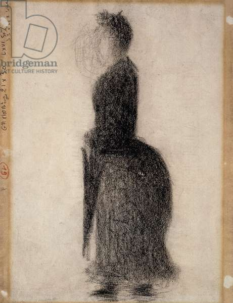 Woman with a Parasol; Femme au Parapluie, c.1883 (conte crayon on paper)