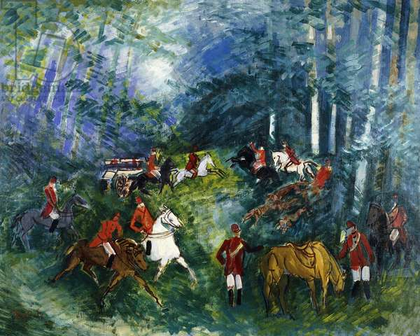 Fox Hunting, 1929 (oil on canvas)