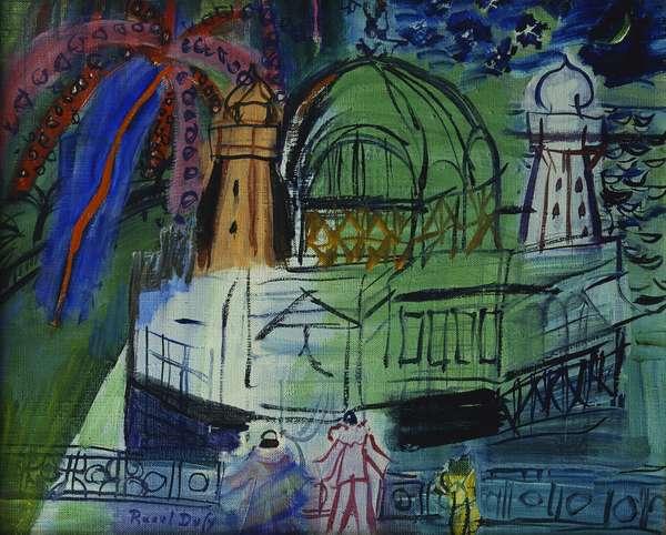 Le Casino de Nice aux Deux Masques Feu d'Artifice, circa 1948-1950 (oil on canvas)