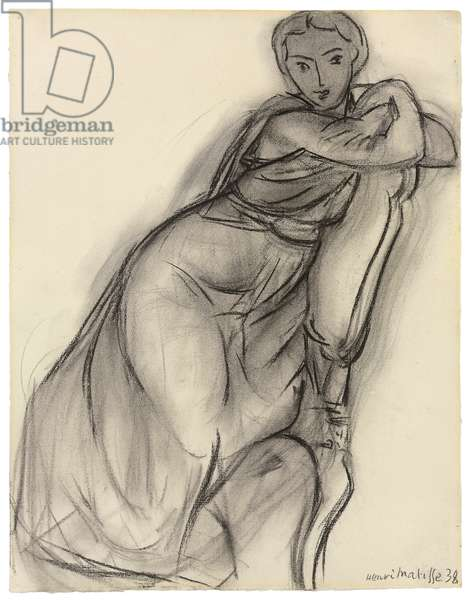 Seated Woman; Femme assise, 1938 (charcoal and estompe on paper)