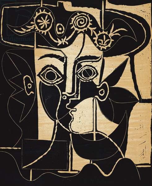 Woman's Head Adorned with a Hat; Grande Tete de Femme au Chapeau Orne (Bloch 1077), 1962 (lithograph printed in colours)