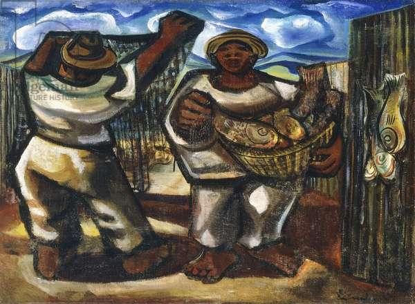 Fishermen, c.1949-1950 (oil on canvas)