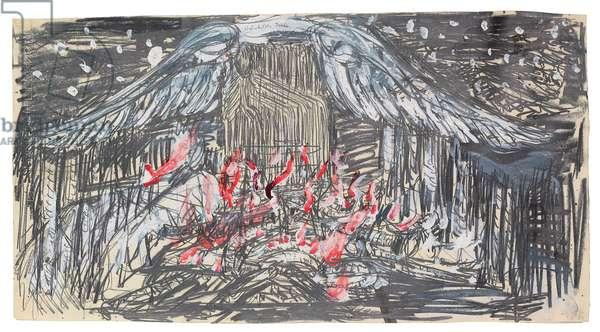 Brunhilde's Soul, 1978 (graphite, acrylic & gouache on paper)