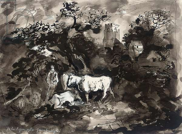 After Gainsborough, 1979 (ink, w/c & bodycolour on paper)