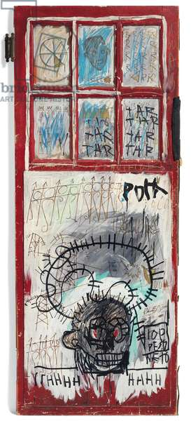 Pork, 1981 (acrylic, oil & oilstick on glass & wood with fabric & metal attachments)