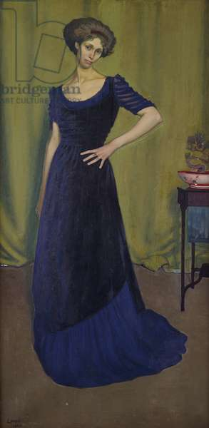 Portrait of a Lady in a Blue Dress, 1908 (oil on canvas)