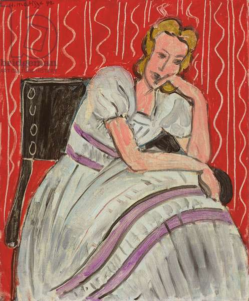 Young Woman Sitting in a Grey Dress; Jeune femme assise en robe grise, 1942 (oil on canvas)