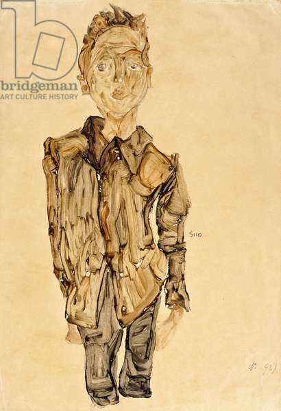 Portrait of a Youth, 1910 (gouache over pencil on tan paper)
