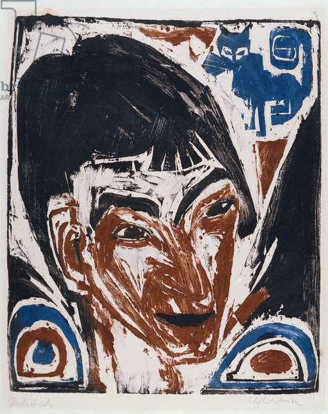 Portrait of Otto Mueller (1874-1930) 1915 (woodcut printed with monotype colours)