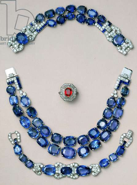 Ring, ruby and diamond; sapphire and diamond necklace and bracelet, late 19th century