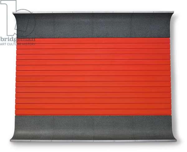 Untitled (DSS 42), 1963 (light cadmium red oil, black oil on wood, galvanized iron and aluminium)