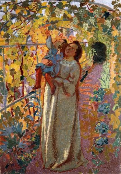 Mother and Child under the Vine; Mere et Enfant sous la Vigne,  (oil on board)
