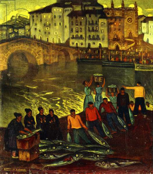 Fisherfolk in a Harbour Town,  (oil on canvas)