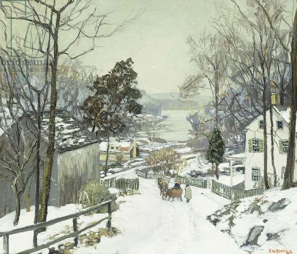 Snowy Lane to the River,  (oil on canvas)