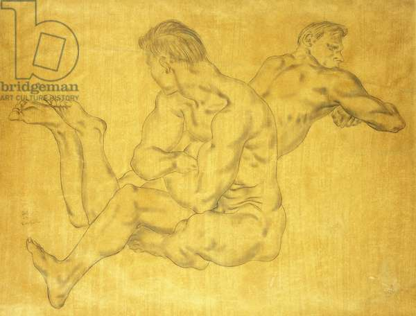 Two Nude Men; Deux Hommes Nus, c.1935 (pencil on tan paper)