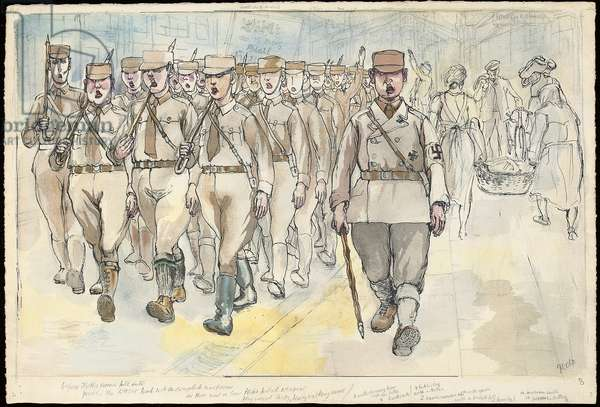 SA Troopers, 1954 (w/c, pen and India ink and pencil on paper)