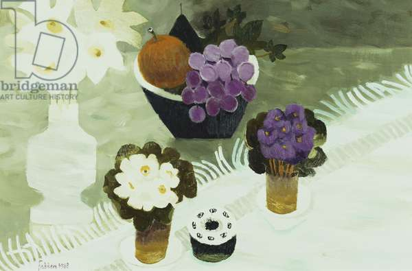 Still-Life with African Violets, 1988 (oil on panel)