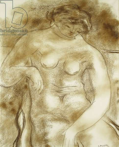 Large Nude; Grand Nu, 1927 (brown chalk on paper)
