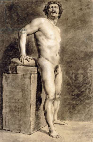 Male Academy Figure, Probably Polonais, standing, 1821 (black and white chalk with charcoal on paper)