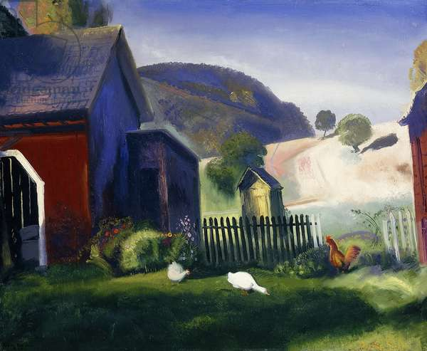 Barnyard and Chickens, 1924 (oil on panel)