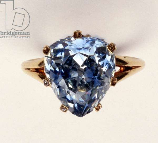 Antique fancy-cut ring, the blue-grey diamond weighing 5.45 carats, once owned by Marie-Antoinette