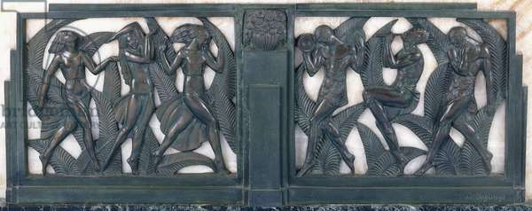 A frieze depicting three classical dancing girls and three musicians, c.1910-1935 (patinated bronze, striated white marble, green marble plinth)