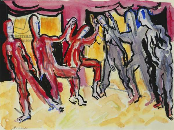 Mary Wigman Dance Group (Recto); Tanzgruppe Mary Wigman (Recto), 1926 (watercolour, charcoal and brush and black ink on paper)