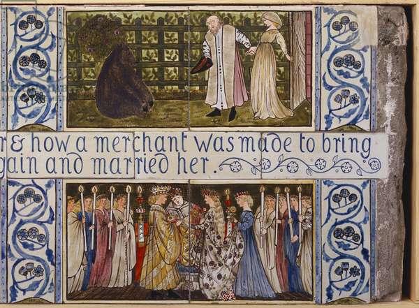 Beauty and the Beast tile panel, Morris, Marshall, Faulkner & Co., c.1867 (ceramic)