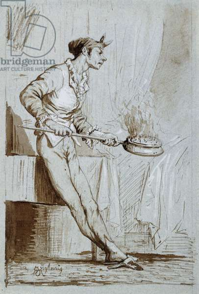 Servant with a Bedwarmer, (pen and brown ink and brown wash on light blue paper)