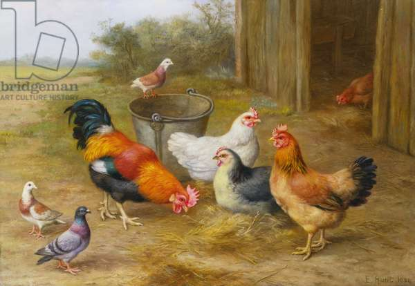 Pigeons and Chickens, 1934 (oil on canvas)