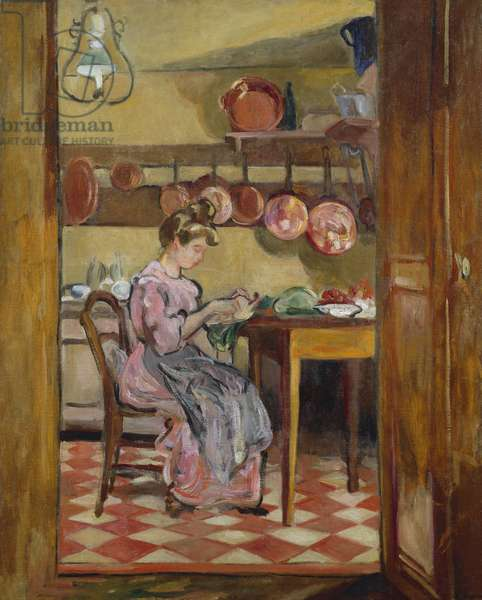 Madame Valtat in the Kitchen (oil on canvas)