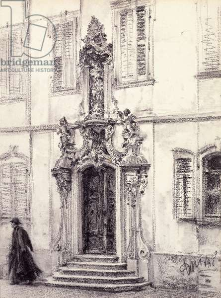 A Man Descending the Stairway of a Building Decorated with a Baroque Portal, 1884 (black chalk on cream paper)