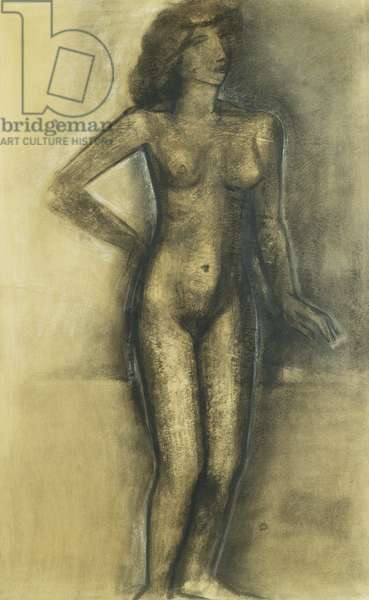 Standing Nude; Nu Debout - Staand Naakt, c.1945 (charcoal and pastel on paper)