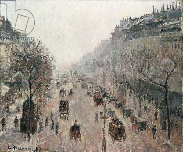 Boulevard Montmartre on a Foggy Sunny Morning, 1897 (oil on canvas)