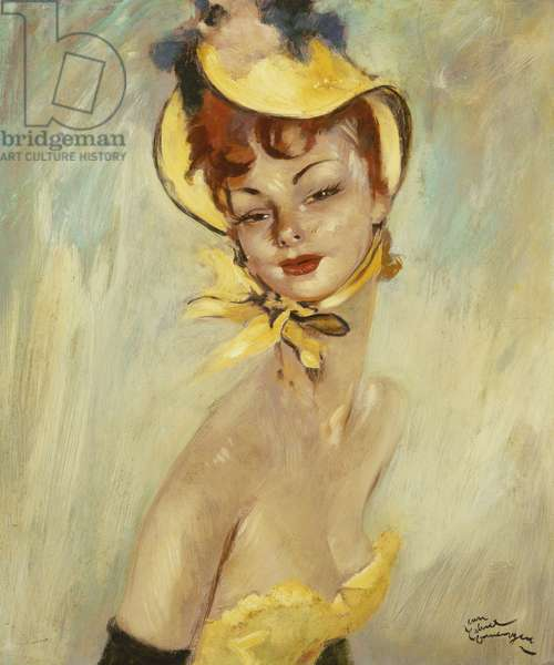 Girl in a Yellow Hat; Jeune Fille au Chapeau Jaune, (oil on board)