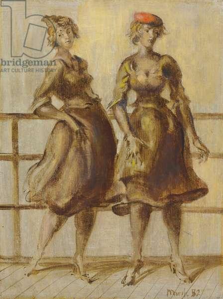 Two Women, 1952 (tempera on board)